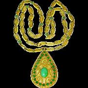Magnificent Antique Art Nouveau Chinese 14K Yellow Gold Filigree Apple Green Jadeite Jade Pendant Necklace 34.4 Grams