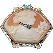 Antique Art Nouveau 14K White Gold Enamel Habille Cameo Pendant Brooch with Diamond & Enameled Butterfly and Flower