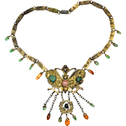 Antique Chinese Gold Gilded Gilt Metal Butterfly Pendant with Charms Necklace Accented with Green Jadeite Jade Carnelian Pink Tourmaline Turquoise, etc.