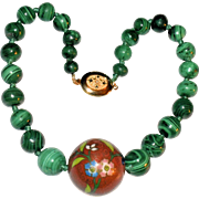 Vintage Chinese Cloisonne Malachite Bead Necklace With Gold Filled Locket Clasp Weighs 133 Grams