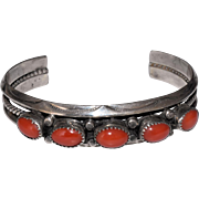 Vintage Native American Navajo Sterling Silver Salmon Red Coral Cuff Bangle Bracelet Signed IRENE TSOSIE