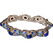Vintage Chinese Sterling Silver Filigree Enamel Lapis Lazuli Butterfly Hinged Bracelet