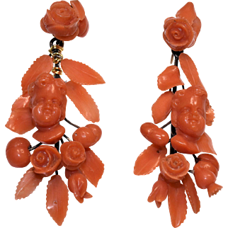 Antique Victorian 14K Yellow Gold Salmon Red Coral Cherub Peach Fruit Rose Floral Flower Foliage Earrings Screw Backs