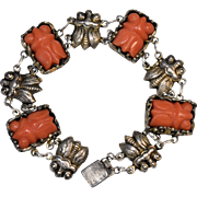 Art Deco Chinese Silver Repousse Carved Salmon Red Coral Repousse Cicada Linked Bracelet