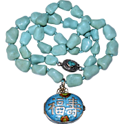 Vintage Chinese Silver Enamel Locket Pendant with Turquoise Beaded Necklace
