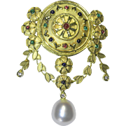 """Antique Art Neoveau 18K Yellow Gold Ruby Emerald South Sea Pearl Floral Flower Foliage Heart Dangling Pendant or Brooch Marked """"750"""""""