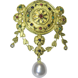 "Antique Art Neoveau 18K Yellow Gold Ruby Emerald South Sea Pearl Floral Flower Foliage Heart Dangling Pendant or Brooch Marked ""750"""
