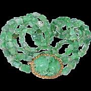 Enchanting Art Deco Chinese 14K Yellow Gold Apple Green Jadeite Jade Pendant Double Strand Necklace