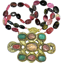 Large Antique Chinese Gold Gilt Metal Pink Tourmaline Apple Green Jadeite Jade Pendant with Vintage Watermelon Tourmaline Beaded Necklace Gilt Silver Clasp