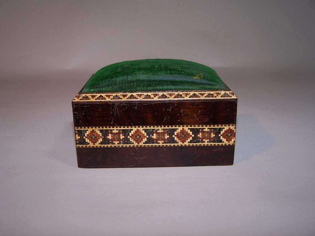 Large Tunbridge Ware Rosewood Pin Cushion Box, c.1870