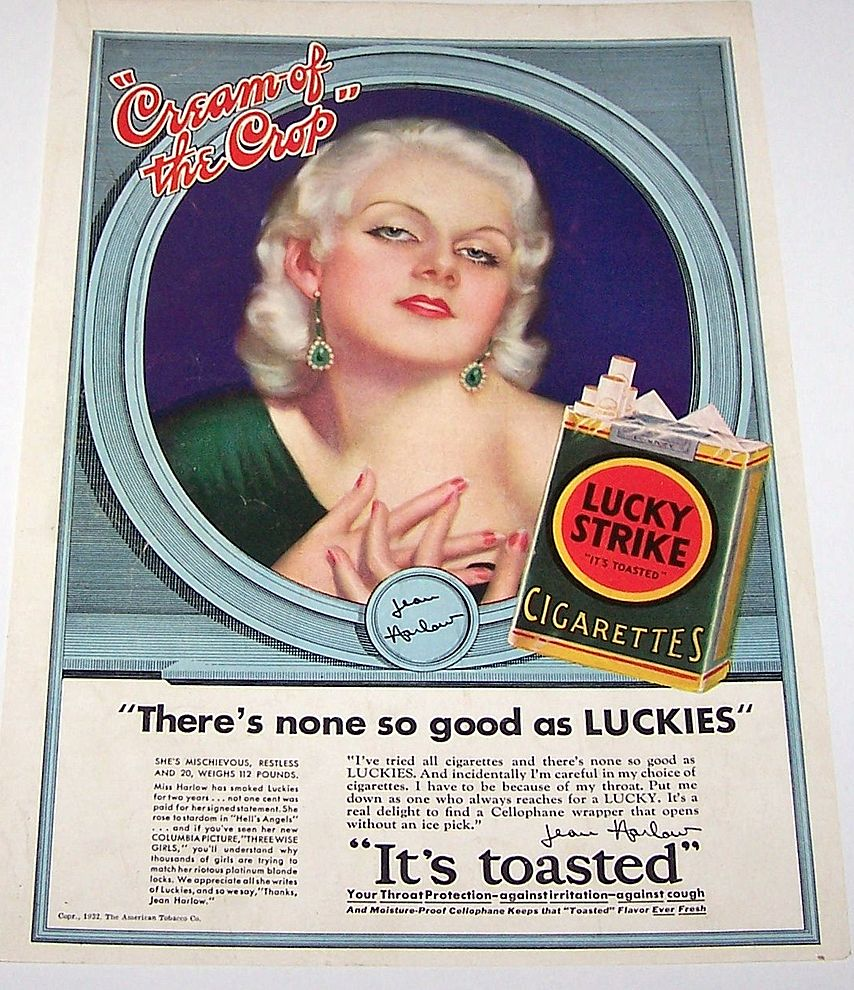 "Magazine Advertising c.1932: (i) Jean Harlow ""Lucky Strike; (ii) Ford Lincoln 8 – Two-Window Town Sedan"