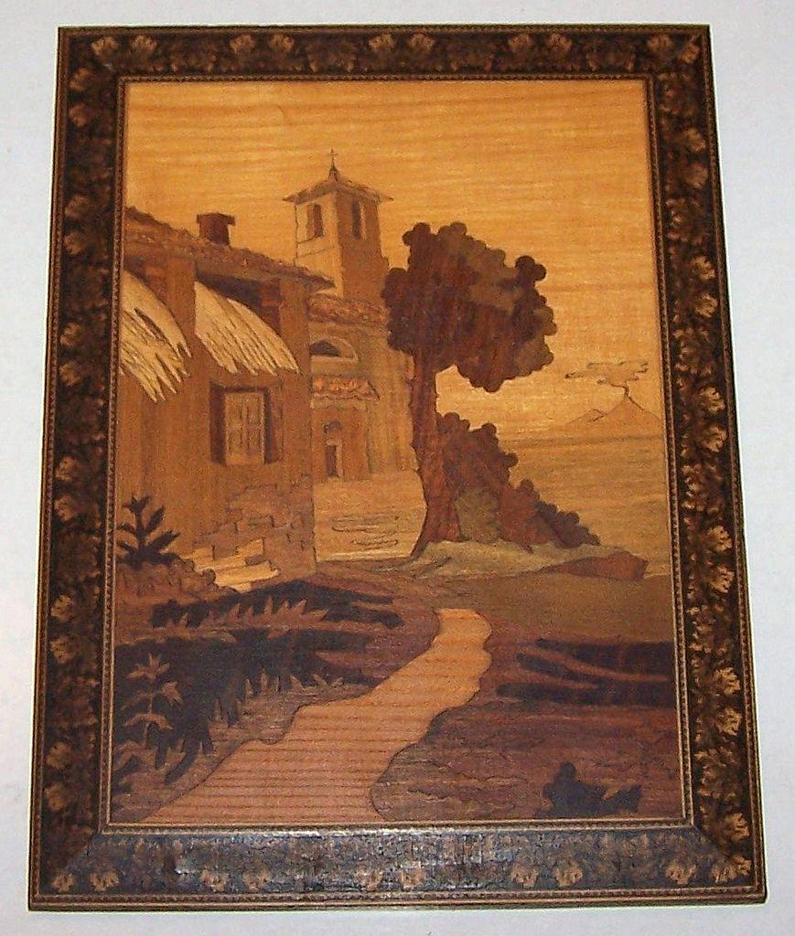 Sorrento Intarsia Picture w/ Tunbridge Style Border, c.1900
