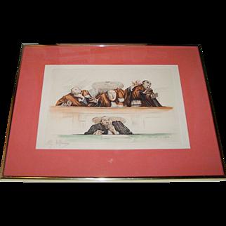 "Gaston Hoffmann (1883-    ) ""Scandale au Pictoire"" Signed Aquatint Etching, c.1920's"