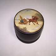 Russian (Fedoskino) Lacquer Tea Caddy, Vishnyakov Mark, c.1870