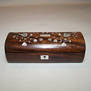 Napoleon III Rosewood Trinket Box, MOP, Shell Inlay, c.1850