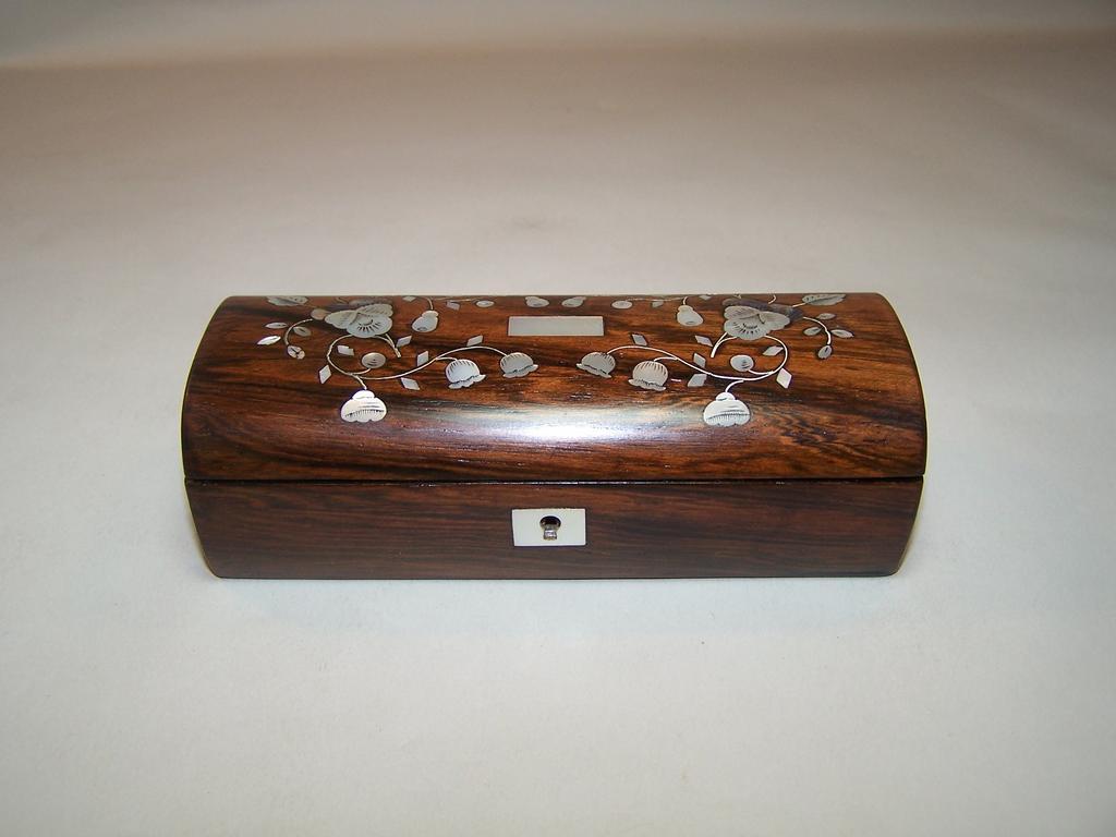 Napoleon III Rosewood Trinket Box, MOP, Shell Inlay, c.1850