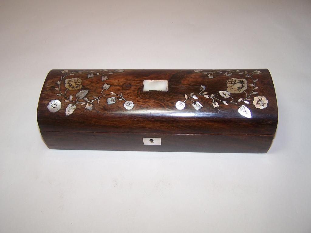 Napoleon III Rosewood Glove Box, MOP Inlay, c.1850