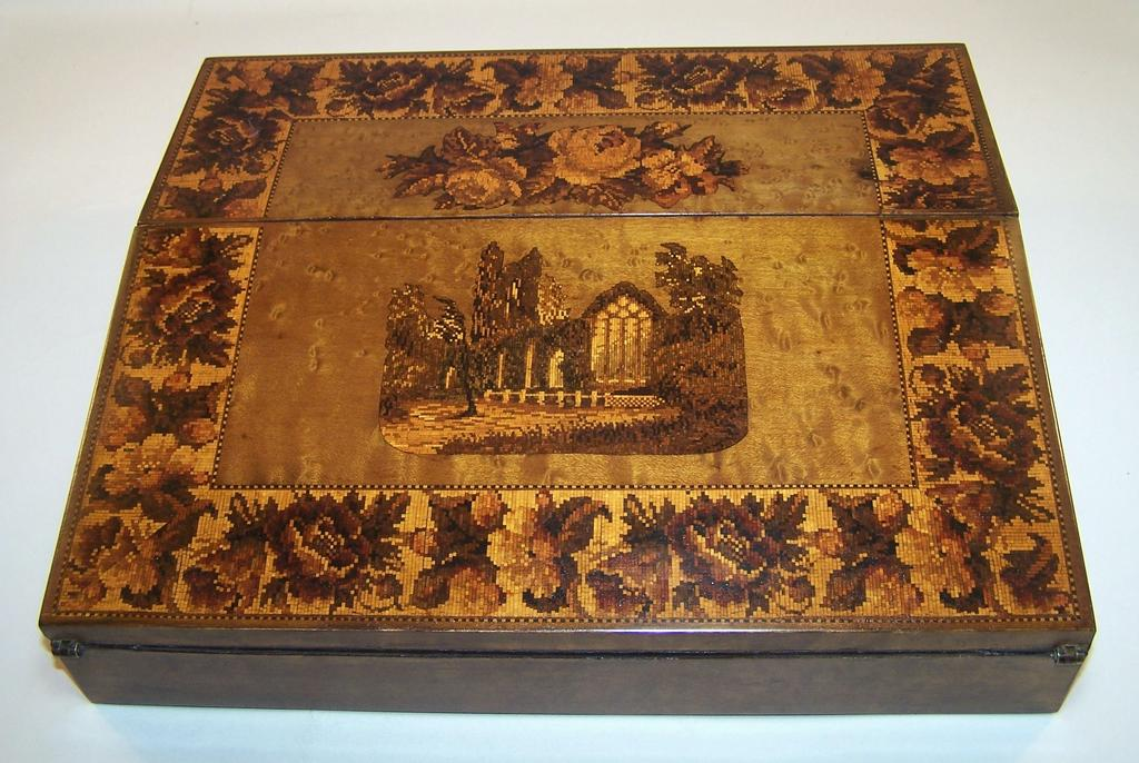 Tunbridge Ware Lap Desk, Bird's Eye Maple, Muckross Abbey, c.1860