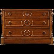 Victorian 1870 Antique Walnut Linen Chest or Dresser, Secret Drawer