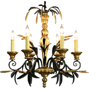 Italian Wrought Iron Wheat & Leaf Motif Vintage 6 Candle Chandelier
