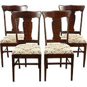 Set of 4 Quarter Sawn Oak Antique 1900 Dining Chairs, New Upholstery