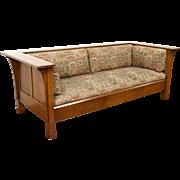 Stickley Signed Craftsman Oak Vintage Sofa, Original Upholstery