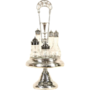 Victorian 1890's Antique Silver Plate Castor Condiment Set, Blown Bottles