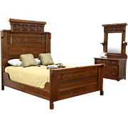 Victorian Eastlake 1880's Antique Walnut & Burl 2 Pc Bedroom Set, Queen Size Bed