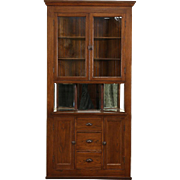 Oak Corner Cupboard, 1900 Antique Cabinet, Glass Doors & Mirrors