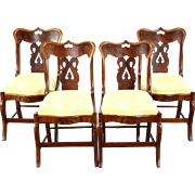 Set of 4 Empire 1830's Antique Mahogany & Cherry Dining Chairs