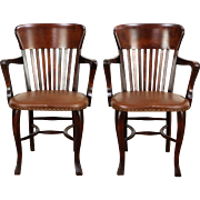 Pair 1910 Antique Banker, Office or Library Chairs with Arms, Leather Seats