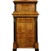 Biedermeier Austrian Antique Armoire Wardrobe, Curly Birch, Secret Compartment