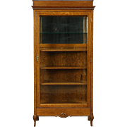 Oak Antique 1900 China Cabinet or Bookcase, Wavy Glass Door