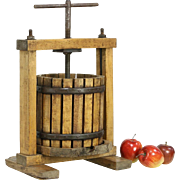Cider or Fruit Antique Wine Cellar Press, Maple & Iron, early 1900's