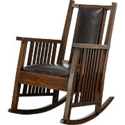 Arts & Crafts or Mission Pine Rocking Chair, Craftsman Rocker, New Leather