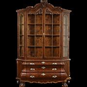 Dutch Baroque Bombe Burl Vintage China Cabinet