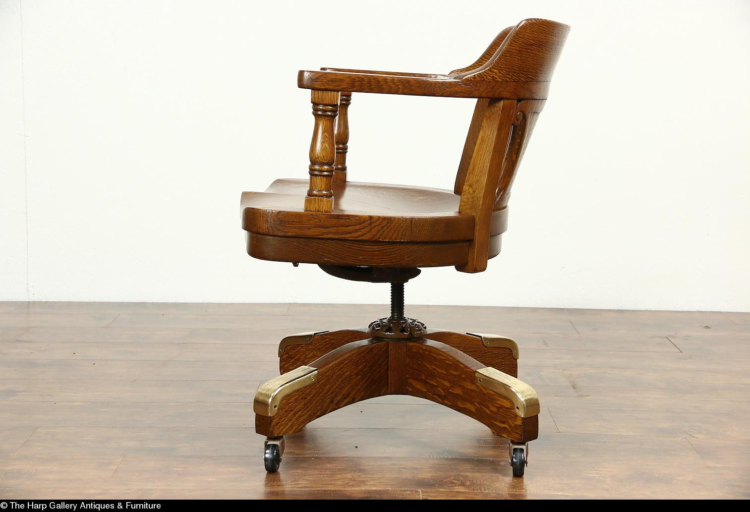 Roll over Large image to magnify, click Large image to zoom - Swivel Oak Antique Adjustable 1915 Desk Chair, Milwaukee