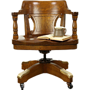 Oak Antique Adjustable Swivel  1915 Desk Chair, Milwaukee Courthouse