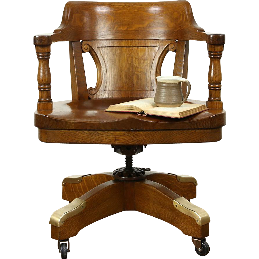Oak Antique Adjustable Swivel 1915 Desk Chair Milwaukee Courthouse Harp Gallery Antique