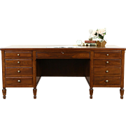 Walnut Executive Antique Library or Office Desk