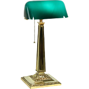 Emeralite Signed Antique Desk Lamp, Emerald Cased Glass Shade