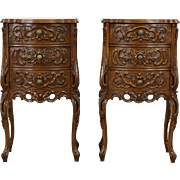 Pair of French Style Carved Walnut Vintage Nightstands