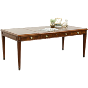 Traditional Vintage Executive or Library Table Writing Desk, Leather Top