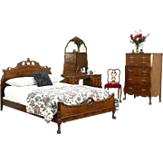 French Style Vintage 4 Pc. Burl Bedroom Set, Extra Long Double Bed