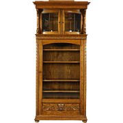 Oak Antique Bookcase or China Display Cabinet, Carved Birds & Gargoyle