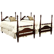 Pair Traditional Mahogany 4 Poster Vintage Twin Beds, Carved Flame Finials
