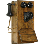 Stromberg Signed Antique Oak Wall Telephone, Generator & Bells