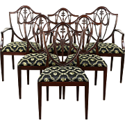Set of 6 Traditional Shield Back Vintage Dining Chairs, New Upholstery