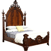 "Victorian Carved 8' 7"" Tall Antique 1860's Bed, Adapted to Queen Size"