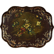 Paper or Papier Mache Antique 1850's Hand Painted Serving Tray